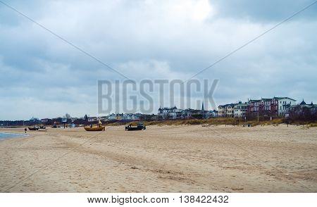 Beach of Ahlbeck on Usedom Island at Baltic Sea, Mecklenburg Western Pomerania, Germany