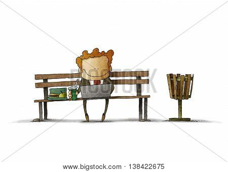 businessman eating lunch and looking at his laptop on park bench. illustration with white bacground isolated