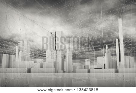 Abstract Contemporary City Background 3D Art