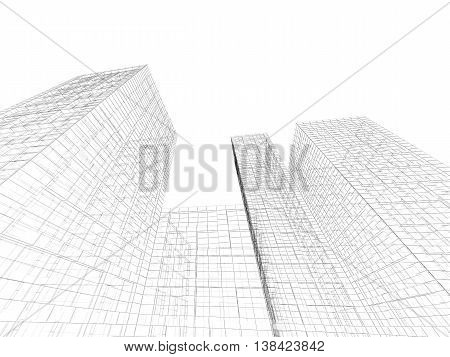 Abstract 3D Tall Buildings Perspective View