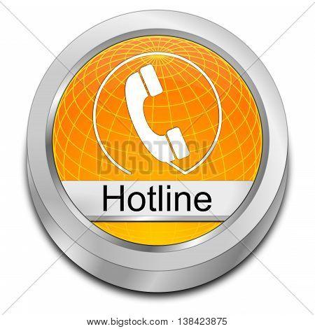 decorative orange Hotline Button - 3D illustration