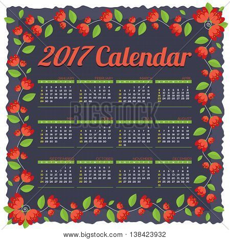 2017 Printable Calendar Starts Sunday Red Flowers Border On Dark Blue Background Vector Illustration. EPS 10