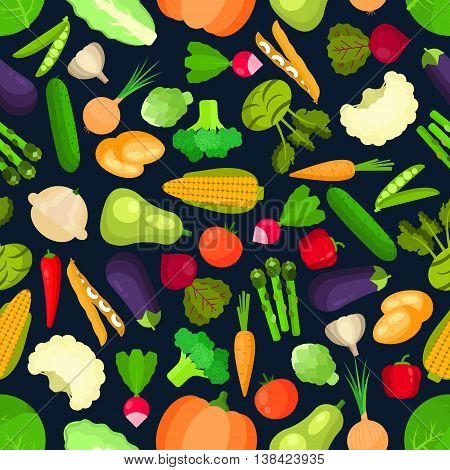 Organic  and vegetarian vegetables seamless pattern isolated on white with healthy cabbage and mature onion, mature peas and tasty carrot, raw corn and asparagus, garden pumpkin and squash, zucchini and cucumber.  Ingredients for vegetarian salad