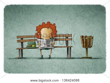 Illustration of smiling businesswoman with lunch box reading newspaper on bench.