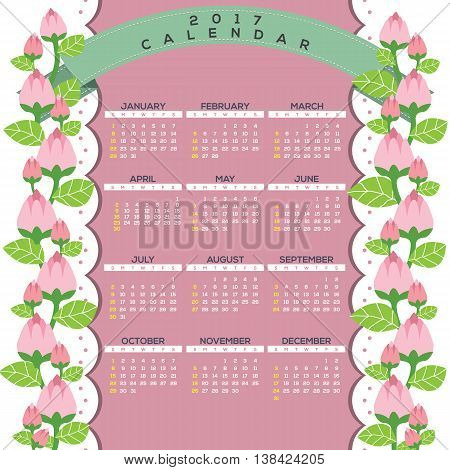 2017 Natural Printable Calendar Starts Sunday Celebrating Pink Flowers Climber Border Vector Illustration. EPS 10
