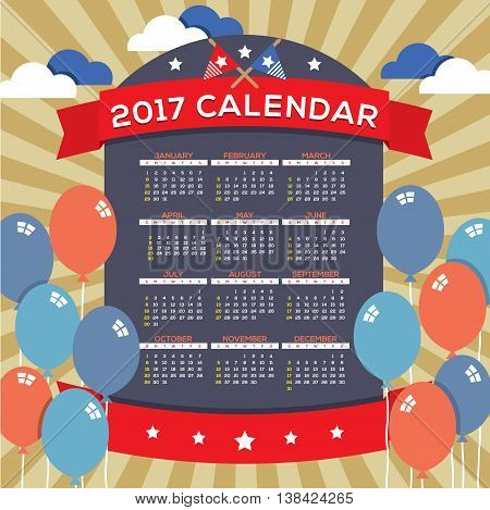 Modern Abstract 2017 Printable Calendar Starts Sunday Celebrating 4th of July United States Independence Day Concept Vector Illustration. EPS 10