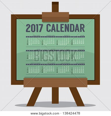 2017 Printable Calendar 12 Months Starts Sunday. Art or Study Concept Vector Illustration. EPS 10