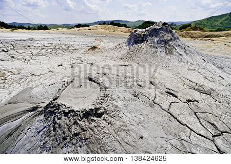 Mud volcanoes also known as mud domes erupting in summer