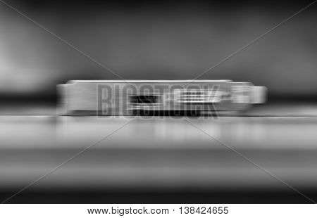 Horizontal vivid black and white computer board blurred bokeh background backdrop