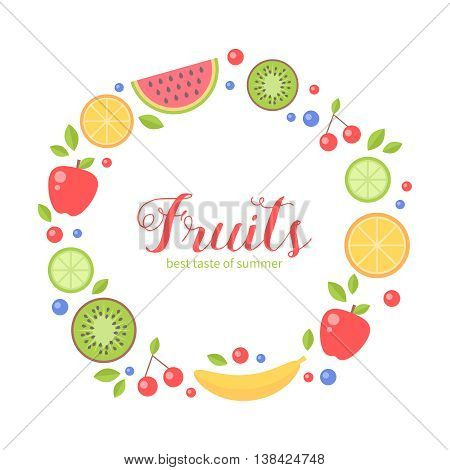 Flat fresh fruits collection circle card for greeting and invitation templates health commercial print and web-design