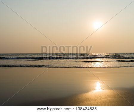 Horizontal vivid ocean orange milk tidal waves horizon background backdrop