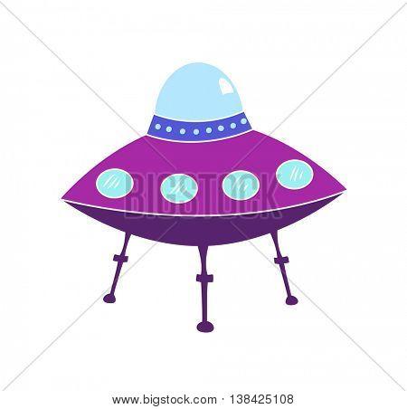 Flying Saucer - Purple alien spaceship parked, cartoon style illustration