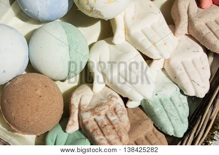 Bath bombs in the form of hands