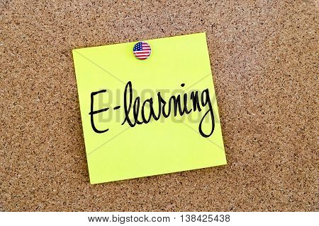 Written Text E-learning Over Yellow Paper Note