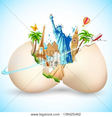 illustration of travel background with statue of liberty, eiffel tower and airplane coming out from broken egg