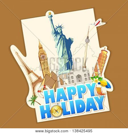 illustration of holiday banner with world famous monument