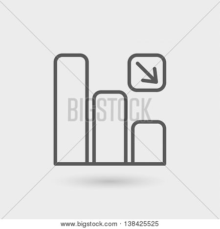 decrease graphic thin line icon isolated with shadow