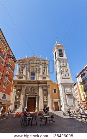 NICE FRANCE - APRIL 11 2016: Cathedral of Saint Reparata (circa 1699) in Nice France. Architect Jean-Andre Guibert. Has been classed as a monument historique since 1906