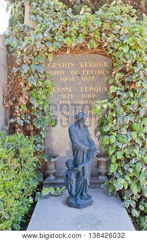 NICE FRANCE - APRIL 11 2016: Tomb of Gaston Leroux and his family on Chateau Cemetery in Nice France. Gaston Leroux (1868-1927) was a French journalist and author of detective fiction