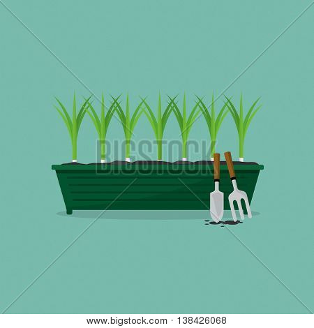 Green Onions Cultivating Vector Illustration. EPS 10