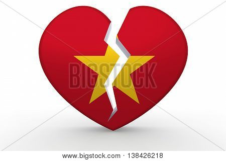 Broken White Heart Shape With Vietnam Flag