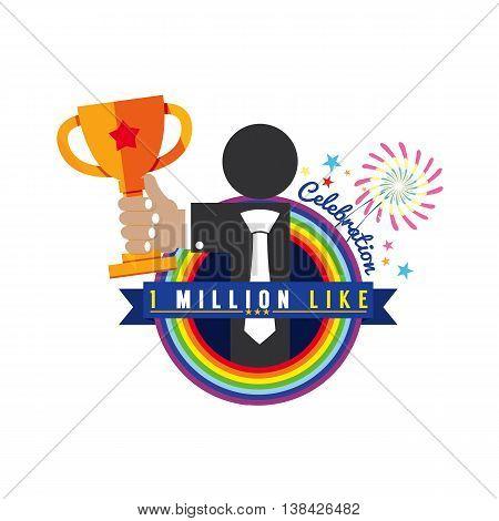 One Million Likes Celebration Vector Illustration. EPS 10