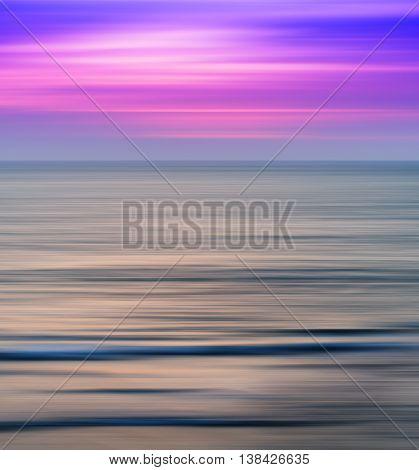 Vertical Vivid Vibrant Pink Ocean Sunset Landscape Motion Blur A