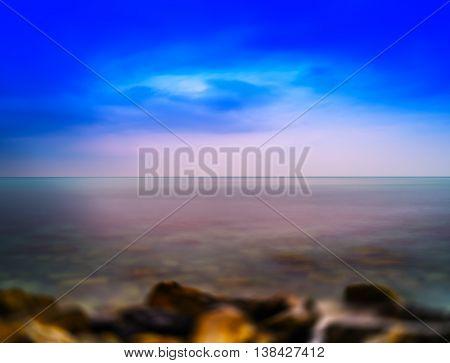 Horizontal Vivid Norway Ocean Horizon Landscape Motion Blur Abst