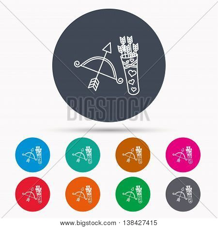 Amour arrows and bow icon. Valentine weapon sign. Icons in colour circle buttons. Vector