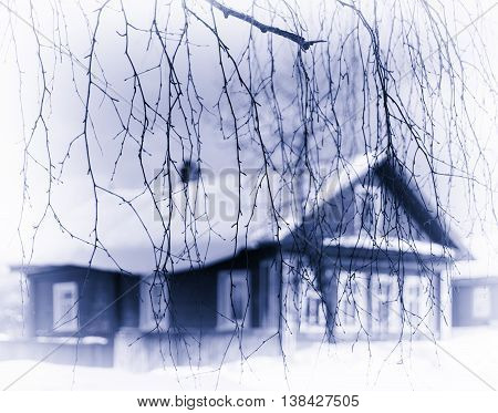 Horizontal Pale Blue Sepia Russian Traditional House Tree Branch