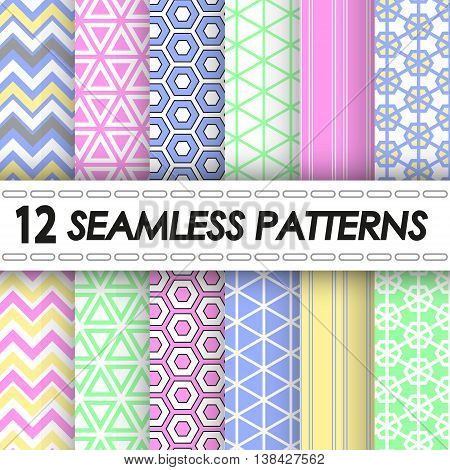 set of seamless patterns of green, rose and blue colors