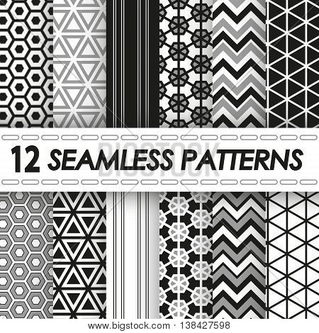 set of seamless patterns of black and white colors