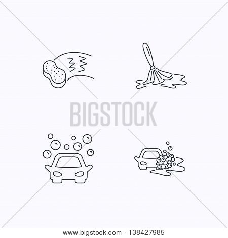 Car wash icons. Automatic cleaning station linear signs. Hand wash, sponge flat line icons. Flat linear icons on white background. Vector