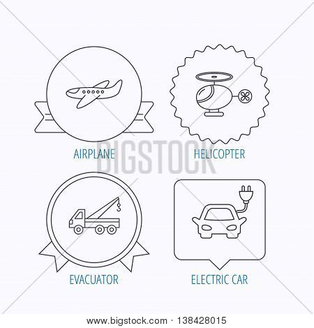 Electric car, airplane and helicopter icons. Evacuator linear sign. Award medal, star label and speech bubble designs. Vector