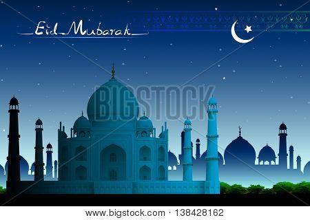 illustration of Taj Mahal in night view on eid mubarak card