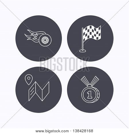 Race flag, map and winner award icons. First place medal, wheel on fire linear signs. Flat icons in circle buttons on white background. Vector