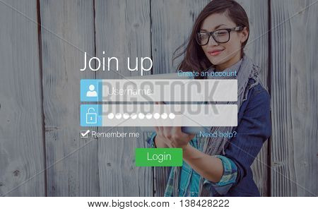 Login with Smiling glasses woman and pad outside