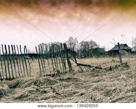 Horizontal dark ghost zombie russian village background backdrop
