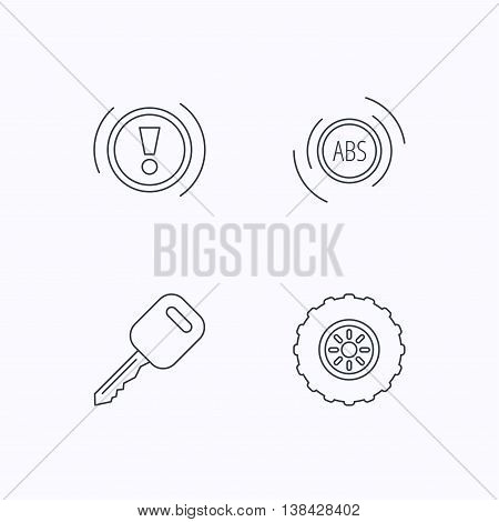 Car key, abs and wheel icons. Warning ABS, attention linear signs. Flat linear icons on white background. Vector
