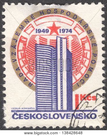 MOSCOW RUSSIA - CIRCA JANUARY 2016: a post stamp printed in CZECHOSLOVAKIA devoted to the 25th Anniversary of Communist Block Council of Mutual Economic Assistance circa 1974