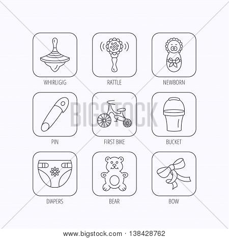 Newborn, diapers and bear toy icons. First bike, bow and pin linear signs. Rattle, whirligig and bucket flat line icons. Flat linear icons in squares on white background. Vector