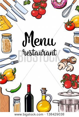 Vegetable, kitchenware cheese and pasta menu design, sketch style vector illustration isolated on white background. Colorful menu banner template with ingredients and utensils for Italian cuisine