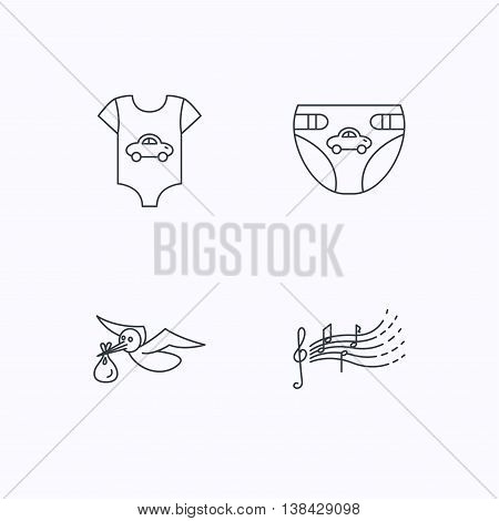 Diapers, newborn clothes and songs for kids icons. Stork with sack linear sign. Flat linear icons on white background. Vector