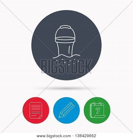 Bucket in sand icon. Trash bin sign. Child beach game symbol. Calendar, pencil or edit and document file signs. Vector