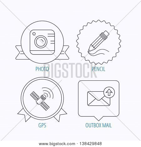 Photo camera, mail and gps satellite icons. Pencil linear sign. Award medal, star label and speech bubble designs. Vector