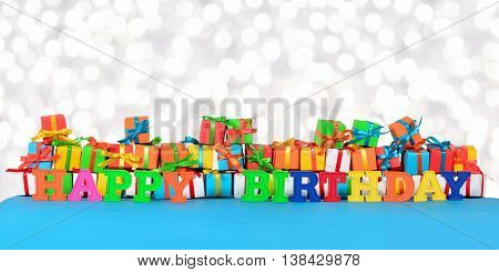 Happy Birthday Colorful Text On The Background Of Varicolored Gifts