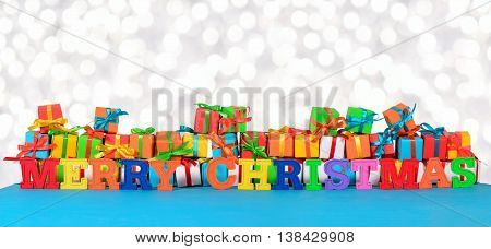 Merry Christmas Colorful Text On The Background Of Varicolored Gifts