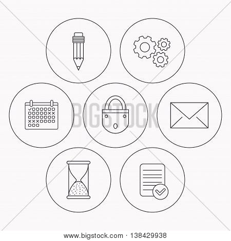 Mail envelope, pencil and lock icons. Hourglass linear sign. Check file, calendar and cogwheel icons. Vector