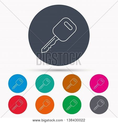 Car key icon. Transportat lock sign. Icons in colour circle buttons. Vector