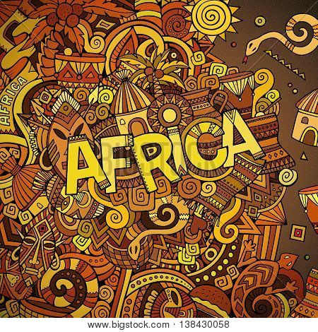 Cartoon cute doodles hand drawn african illustration. Colorful picture with doodle inscription Africa